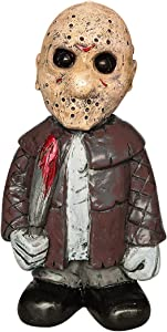 Horror Movie Garden Gnomes Nightmares Murderers Freddy Jason Michael Myers Leatherface Figurines Nightmares on Elm Street Slasher Shot Massacre Halloween Sculpture Decor (Jason Voorhees)