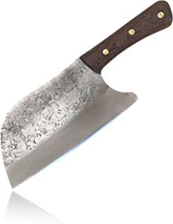 ZENG Couteau Cuisine Forgé à La Main, Couteau de Chef Serbe en Acier Inoxydable de 25 cm, Couteau de Boucher à Viande avec...