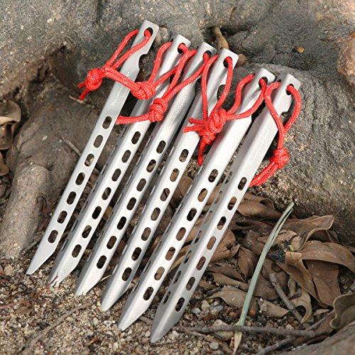 ZYvoyage Ultralight Titanium Tent Stakes - V-Shaped Tent Pegs Outdoor Camping (8pcs)