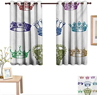 Superlucky Queen Customized Curtains Old Antique Crown Set in Baroque Style Colorful Rococo Retro Victorian Floral Details 55