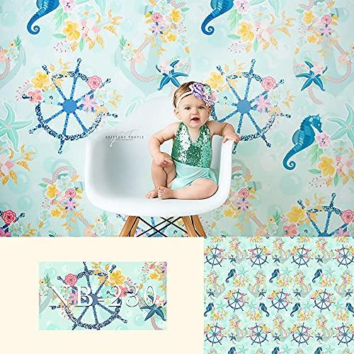 Fondos fotográficos Fondo de fotografía de Vinilo decoración de Fiesta de cumpleaños Flor prenatal hipocampo para Foto de estudio-8x6FT