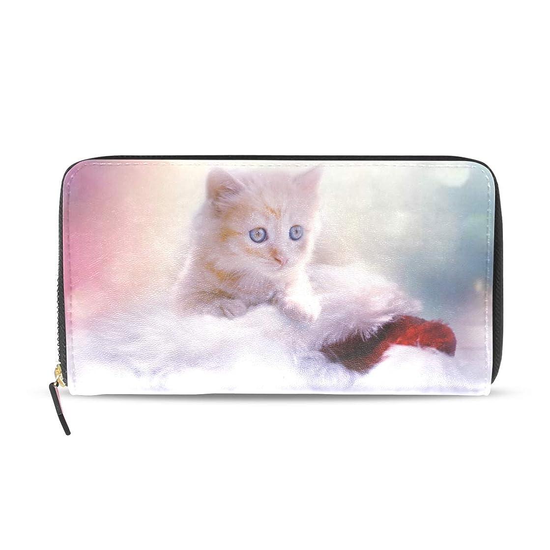 はがきロール大臣プラ(Pula) 長財布 レディース ファスナー ジッパー 子猫 ねこ 動物 可愛い かわいい 小銭入れ付 クラッチ財布 彼女 誕生日プレゼント クラッチ財布 大容量 ウォレット