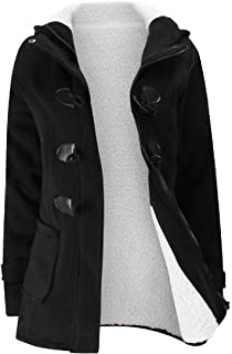 Abetteric Womens Hooded Solid Warm Pockets Classic Mid Length Fleece Coat