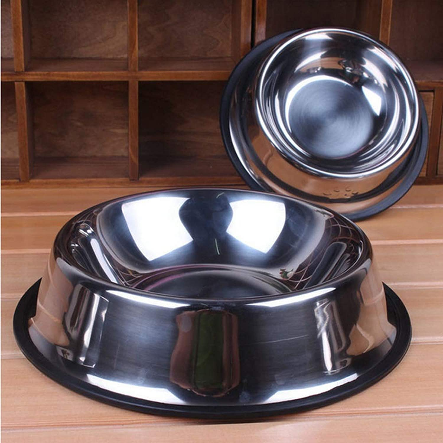 Dog Bowl, Stainless Steel, Medium and Small Dog Rubber Base, Pet Feeding Bowl and Water Bowl Perfect Choice (2 Sets) Interesting Feeding Device, Perfect for Pet Feeding Bowl and Water Bow