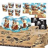 Générique Anniversaire Pirate Party Enfant Garçon Trésor Bateau Décoration Table Vaisselle Nappe Assiettes Gobelets Serviettes Drapeaux 8 Enfants