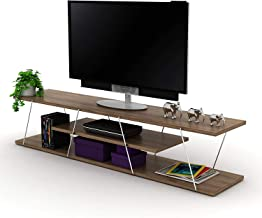 Home Canvas Tars Modern TV Stand for Living Room, TV Unit Media Easy Assembly - Walnut and Chrome