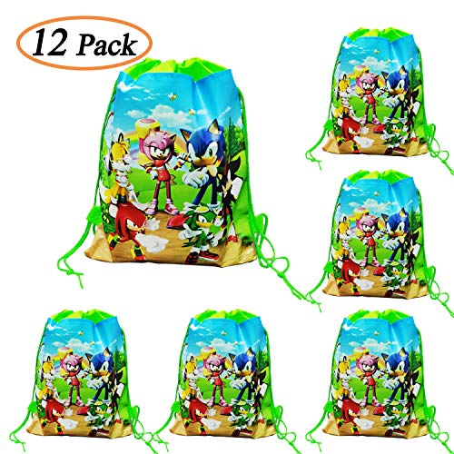 12 Packs Sonic the Hedgehog Drawstring Party Bags, Party Favors Bags Drawstring Backpacks Gifts Bags Birthday Party Supplies Favor Bag for kids Children Baby Shower