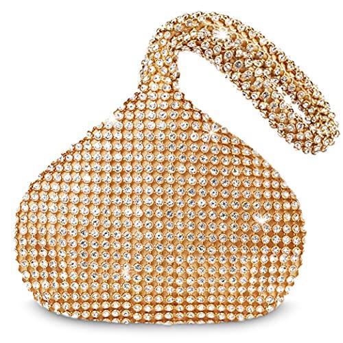 BABEYOND 1920s Flapper Handbag Clutch Gatsby Crystal Handbag Roaring 20s Evening Clutch Bag 1920s Gatsby Costume Accessories (Gold)