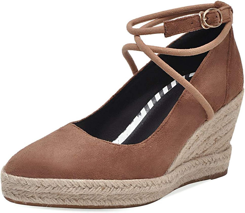 DoraTasia Women's Vintage Casual Linen Wedge Heel Ankle Strap Pump Heel Platform shoes
