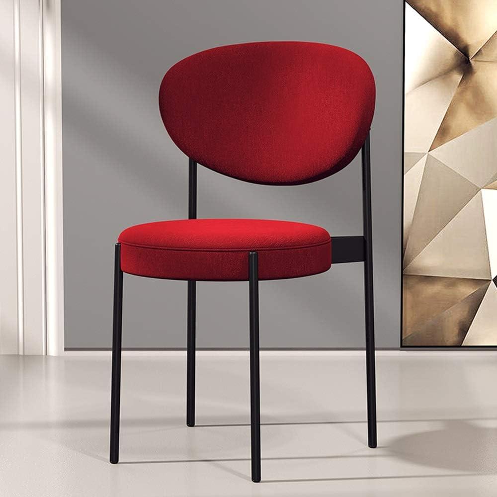 Bseack Chaise Moderne sans accoudoirs avec Lounge Chair Dossier Ergonomique Coton et Lin Tissu Petit Appartement Clair Restaurant Chaise Restaurant Salon (Color : Yellow) Red