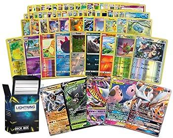 Ultra Rare Pokémon Bundle- 50+ Random Cards= 50 Cards + 3 foil Cards 1 Legendary Ultra-Rare Card Plus a Lightning Card Collection Deck Box
