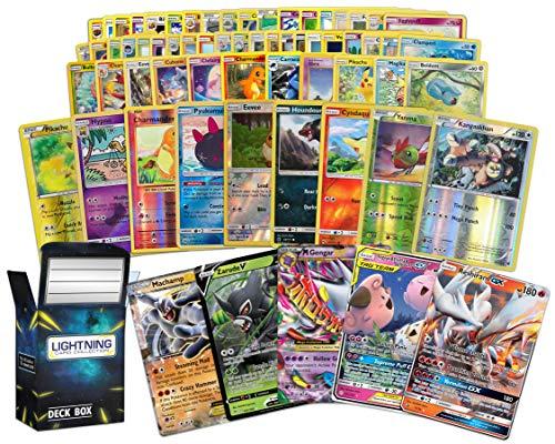 Ultra Rare Pokémon Bundle- 50+ Cards= 50 Cards + 3 foil Cards, 1 Random Legendary Ultra-Rare Card, Plus a Lightning Card Collection Deck Box