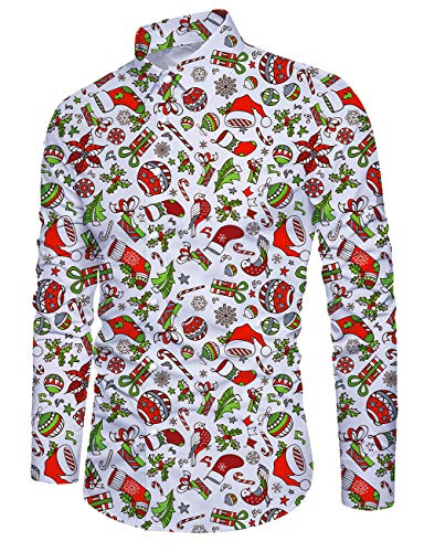 Idgreatim Teen Boys Ugly Christmas Xmas Shirts Print Santa Claus Long Sleeve Hawaiian Beach Wear Mens Casual Dress Xmas Shirt, Christmas Bird, L