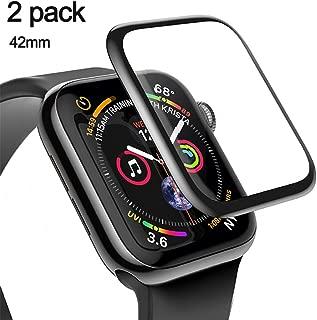 [改善版全面]42mm Apple Watch フィルム Series3 Series2 兼用,Uarral 強化ガラスフィルム 気泡防止 装着簡単 液晶保護フィルム 3D全面保護 耐衝撃 ブラック アップルウォッチ フィルム 曲面カバー HD画面対応 高透過率 耐指紋 硬度9H アップルウォッチ フィルム(2枚セット)