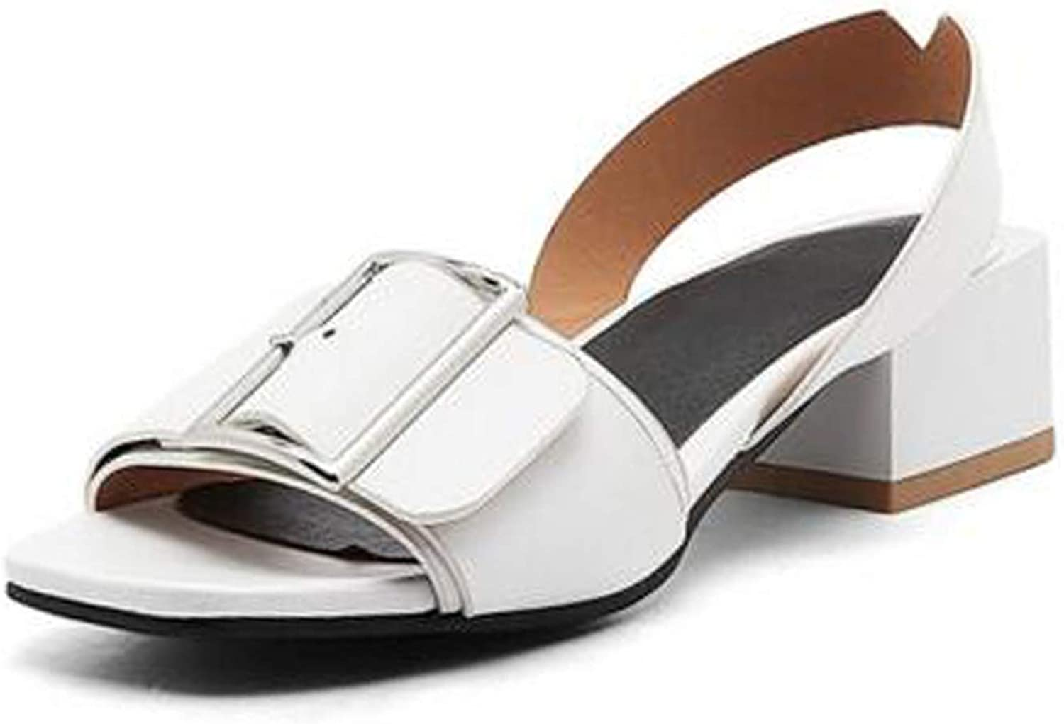 Fairly shoes Open Toe shoes Buckle Square Heels Date Summer Casual Fanshion shoes,White,4