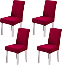 Ogrmar 4PCS Stretch Removable Washable Dining Room Chair Protector Slipcovers/Home Decor Dining Room Seat Cover (Wine Red)