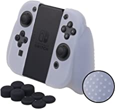 MXRC Silicone rubber STUDDED cover skin case anti-slip Customize for Nintendo Switch Joy-Con Grip controller x 1(clear white) + Joy-con thumb grips x 8
