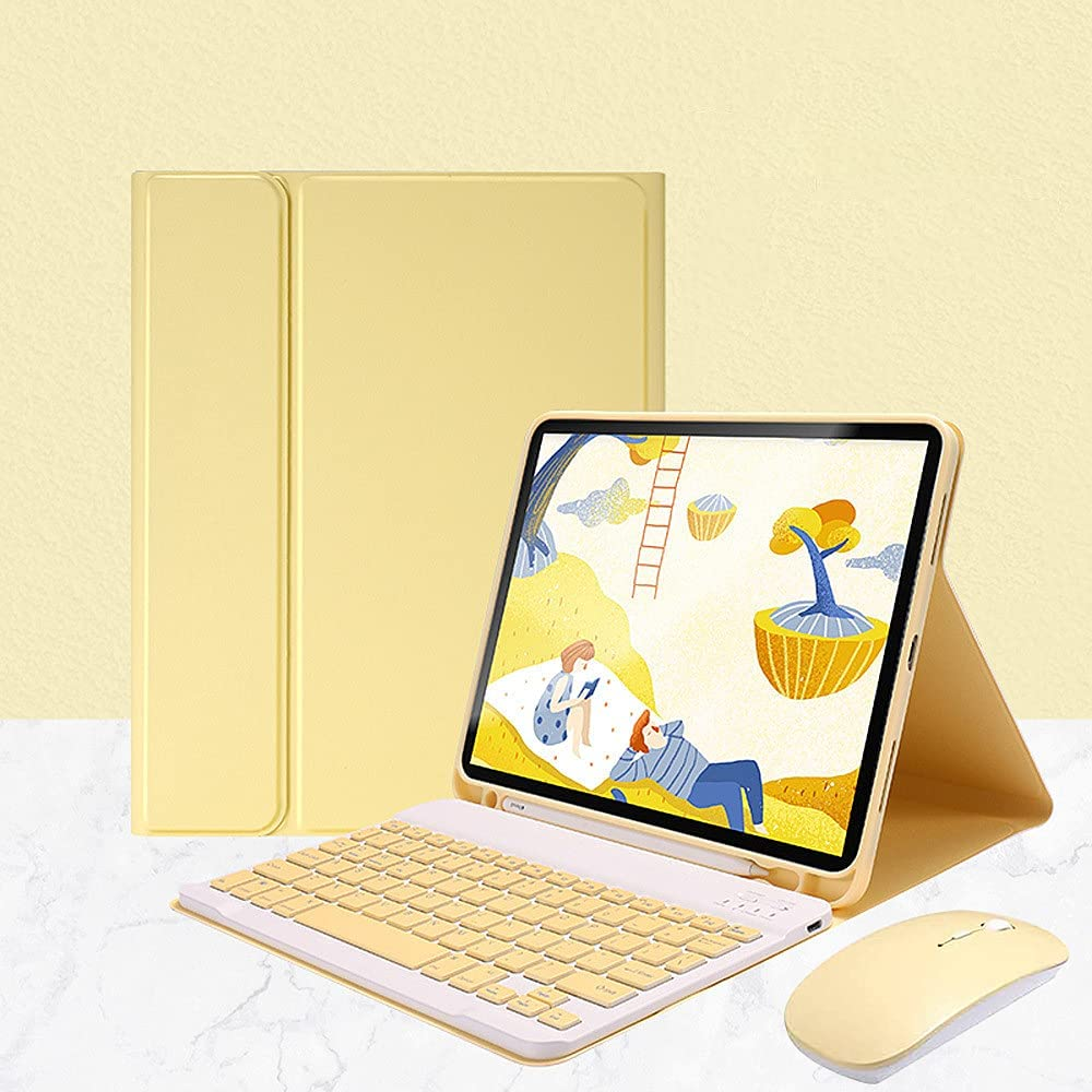 Antetek Keyboard Case + Mouse for iPad Air 4 Generation 10.9 inch 2020,Detachable Wireless Keyboard with Pencil Holder, Slim Leather Smart Cover for iPad Air 10.9 inch 4th Generation (Yellow)