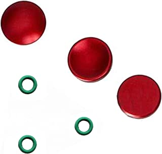 3個セット GeeSo アルミニウム合金 シャッターボタン 10mm 各社カメラ対応 凹/凸/プレーン タイプ (3個セット, 赤)