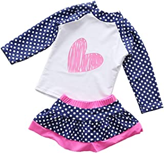 Digirlsor Kids Toddler Girls Two Piece Skirt Swimsuit Rash Guard Long Sleeve Sunsuit UV Sun Protection Beach Swimwear Set