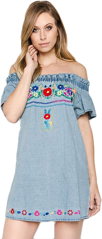 Karlie Womens Denim Floral Embroidered Dress bluee Small, Medium, Large