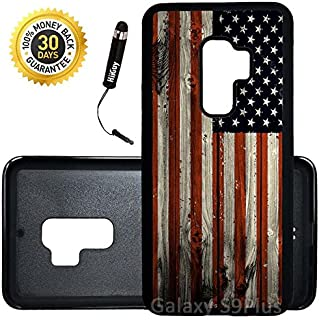 Custom Galaxy S9 Plus Case (American Flag on Wood) Edge-to-Edge Rubber Black Cover Ultra Slim | Lightweight | Includes Stylus Pen by Innosub