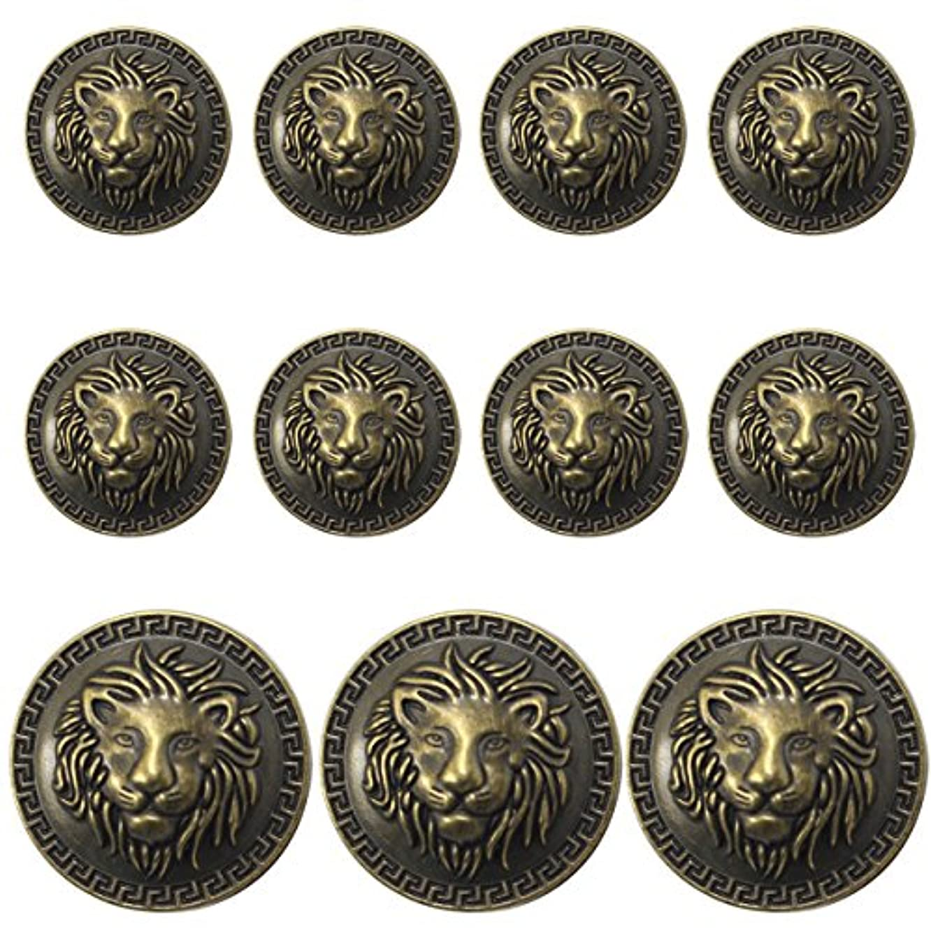 11 Pieces Bronze Vintage Antique Metal Blazer Button Set - 3D Lion Head - for Blazer, Suits, Sport Coat, Uniform, Jacket
