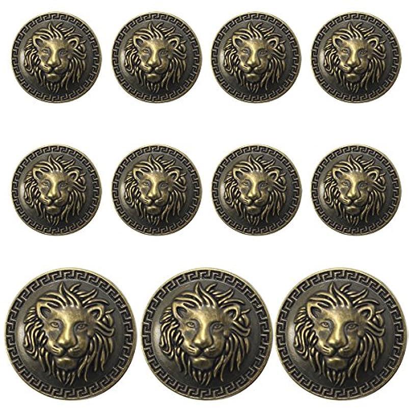 11 Pieces Bronze Vintage Antique Metal Blazer Button Set - 3D Lion Head - for Blazer, Suits, Sport Coat, Uniform, Jacket mwiturjp739898
