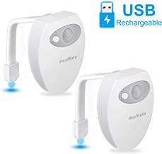 HeyMate Toilet Light 2 Pack Rechargeable Motion Sensor LED Toilet Bowl Light 8-Color Changing Night Light with USB Cable