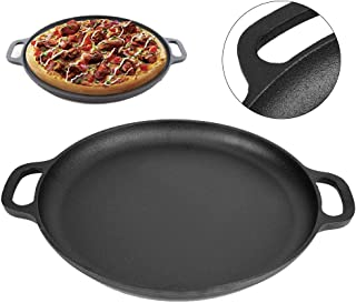 Cast Iron Pizza Pan, Non-stick Cast Iron Pizza Baking Plate,1.18inch Thickness, In the Oven, Safe (35CM Pizza Pan)