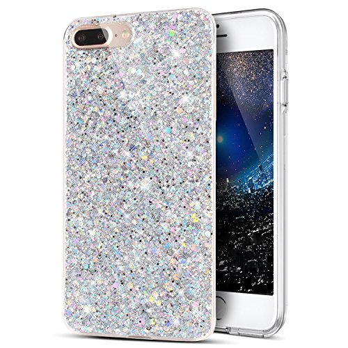 iPhone 8 Plus Case,iPhone 7 Plus Case,Sparkly Shiny Glitter Bling Powder 3D Diamond Paillette Slim Glitter Flexible Soft Rubber Gel TPU Protective Case Cover for iPhone 8 Plus / 7 Plus,Silver
