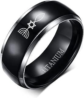 8MM Black Titanium Messianic Jewish Magen David Silver Grooved Edge Ring for Men Women,Size 6-13