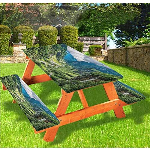 LEWIS FRANKLIN - Cortina de ducha con borde elástico, diseño de paisaje de lujo, para mesa de picnic