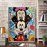Flduod Impresiones en Lienzo modulares Dibujo nórdico de Alta definición Cute Mouse Graffiti Photo Wall Art Painting Home Decor Poster Living Room -60x80cm