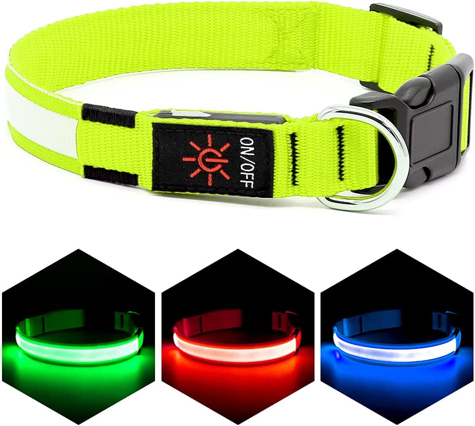 VIZPET LED Max 85% OFF Dog Collar USB 100% Adjustabl Purchase Rechargeable Waterproof