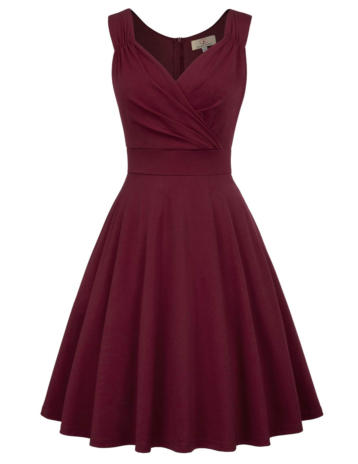 Party Dresses - Women's 50s 60s Vintage Sleeveless V-Neck Cocktail Swing Dress