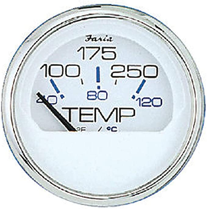 "Faria Beede Instruments 13110 Dress White 2/"" Water Temperature Guage 100-250�F"