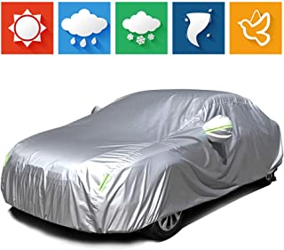 "cciyu Universal Car Cover Waterproof 190T Polyester for Most Cars Up to 210"" All Weather Protection with Mirror Pockets Reflective - Silver Grey"