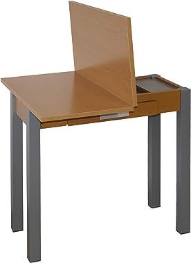 Table de Cuisine - Modèle Hena Métal - Couleur Cerisier/Argent - Matériau MDF/Métal - Dimensions 80 x 40/80 x 76 cm