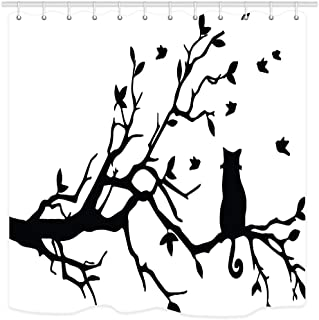 NYMB Cat Shower Curtain Animals Lover Decor, Pet Kitten Sitting on Tree Branch Silhouette Bath Curtains, Waterproof Fabric Shower Curtain for Bathroom 12PCS Shower Hooks, 69X70 in Valance Black White