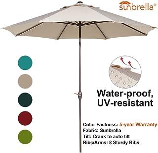Abba Patio Sunbrella Patio 9 Feet Outdoor Market Table Umbrella with Auto Tilt and Crank, Beige