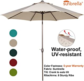 Abba Patio Sunbrella Patio 9 Feet Outdoor Market Table Umbrella with Auto Tilt and Crank, Beige
