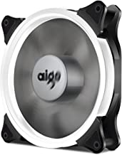 Aigo Halo LED Ring Fan 140mm 14cm Case Fan Silent Sleeve Bearing PC CPU Cooling Neon Quite Clear Case Fan Mod 4 Pin/3 Pin for Computer Cases CPU Coolers and Radiators (140mm, White)