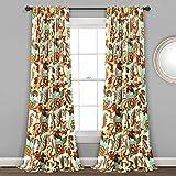 Lush Decor, Neutral Zara Jacobean - Paneles de cortina para ventana, 2 piezas, (84 x 52 pulgadas)