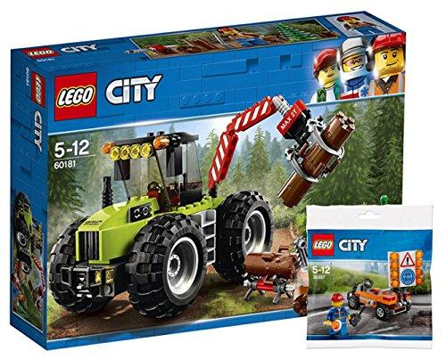 LEGO City 60181 - Starke Fahrzeuge Forsttraktor + Lego City 30357 - Road Worker Polybag, Cooles Kinderspielzeug