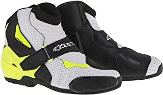 Alpinestars SMX-1 R Vented Boots (45) (Black/White/Yellow)