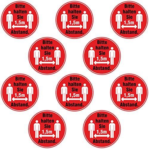 10x Abstand halten Aufkleber 9 cm - Bitte halten Sie 1,5m Abstand Sticker Sicherheitsabstand rund für Firma Geschäft Betrieb Lokal wetterfest