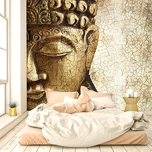 murimage Papel Pintado Buda Dorado 274 x 254 cm Incluyendo Pegamento Fotomurales Buddha Espiritual Meditación Asia Bronce Templo Vintage