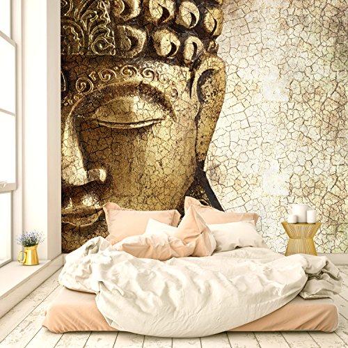 murimage Fototapete Buddha Vintage Gold 274 x 254 cm inklusive Kleister Asien Tempel Spirituell Bronze Shabby chic