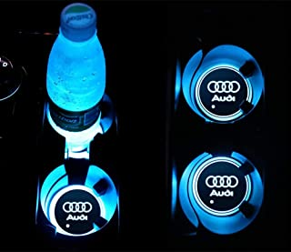 YOJOHUA 2.56 Inch LED Cup Holder Lights, for Audi Accessories Car Logo Coaster with 7 Colors Changing USB Charging Mat, Luminescent Cup Pad Interior Atmosphere Lamp Decoration Light (2 PCS)